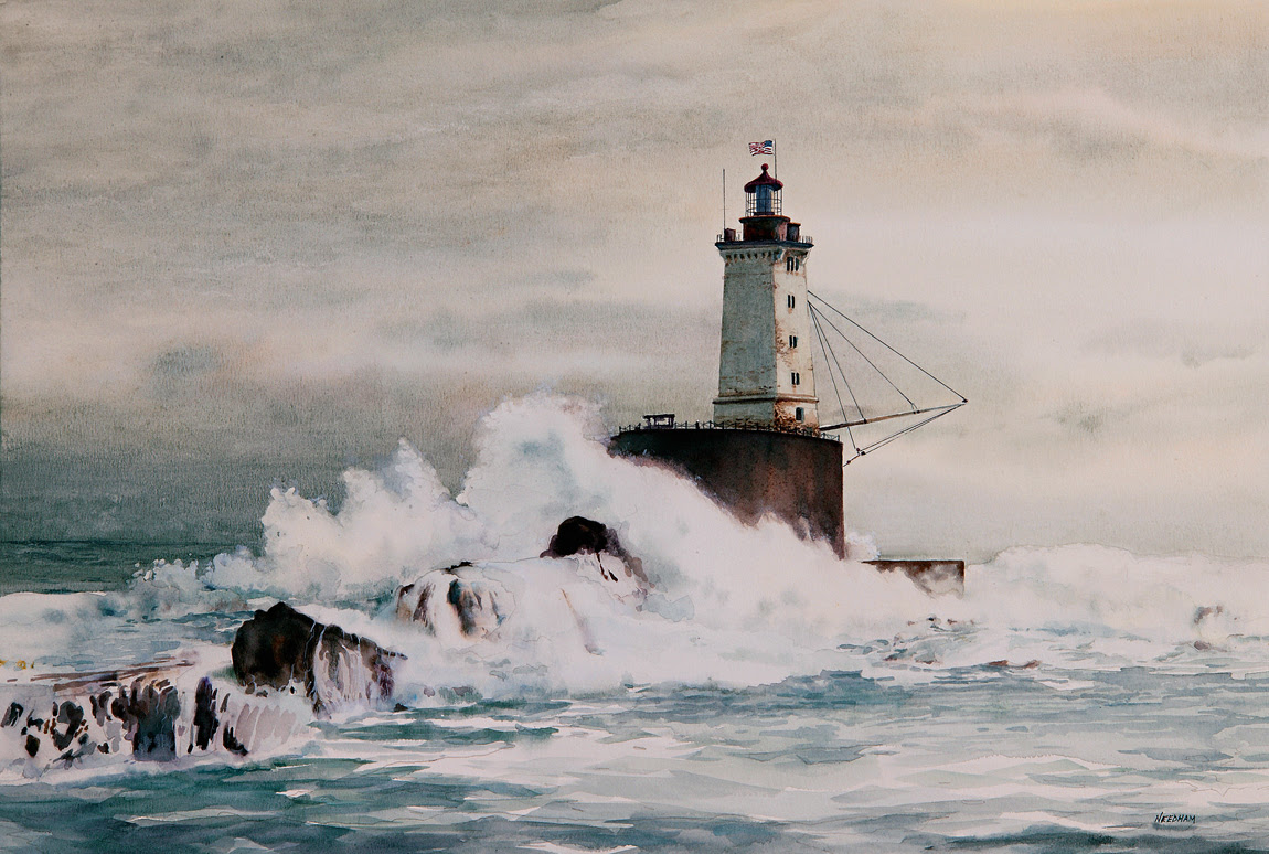 Saint George's Reef Lighthouse Watercolor by Thomas A Needham