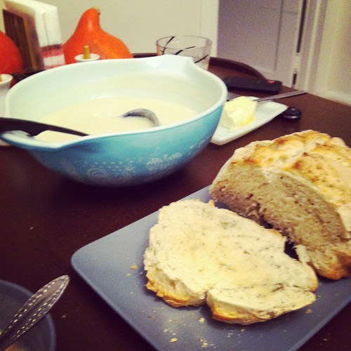 Potato Roquefort soup and Homemade Bread