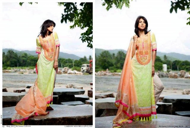 Beautiful-Cute-Girls-Models-Wear-Summer-Eid-Dress-Collection-2013-Lakhani-Silk-Mills-11