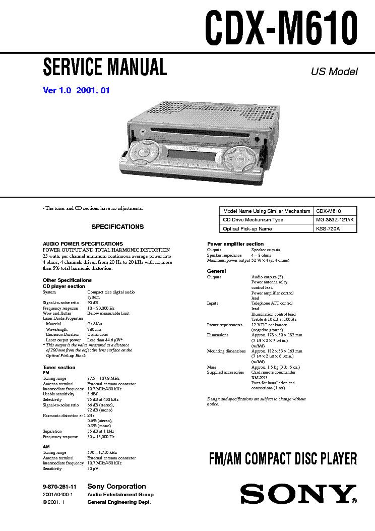 Sony Cdx M610 Wiring Diagram