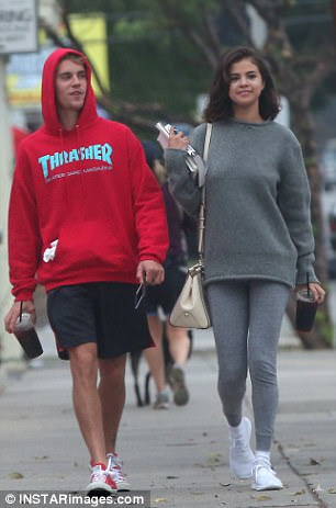 Giddy:The stars appeared to be having a blast during their outing together, which included a stroll and a biking session