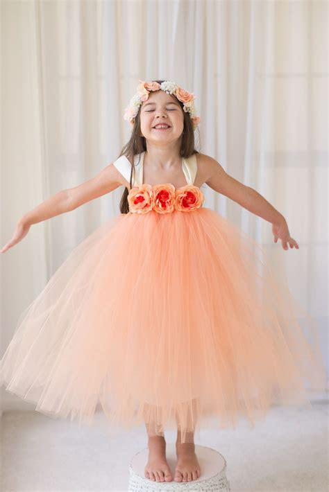 Peach   Flower Girl Tutu Dress with Flower Trim   My