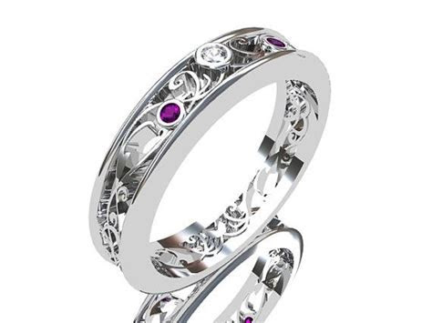 Amethyst ring, white gold, Diamond, filigree, wedding band