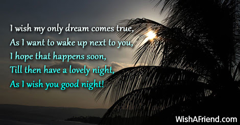 I Wish My Only Dream Comes Good Night Message For Girlfriend