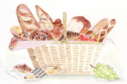 大人かわいいパンのかご水彩イラスト木製フレーム ハンドメイド