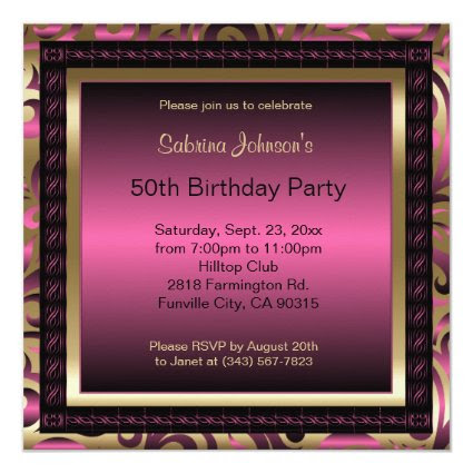 50th Birthday Party | Pink Metallic & Gold 5.25x5.25 Square Paper Invitation Card