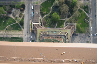 View from the top of the Eiffel Tower, looking down