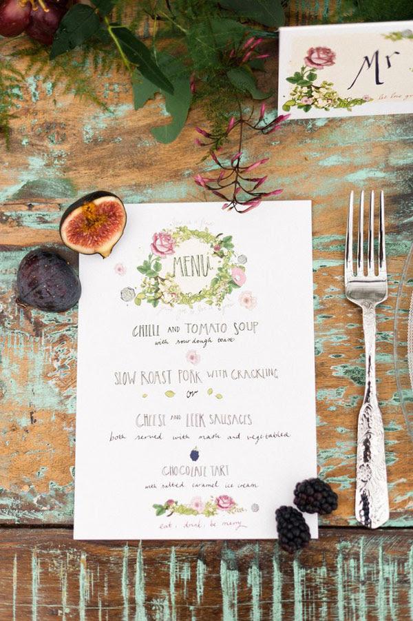 menu matrimonio botanico