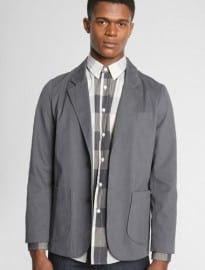 Grey Cotton Unstructured Blazer