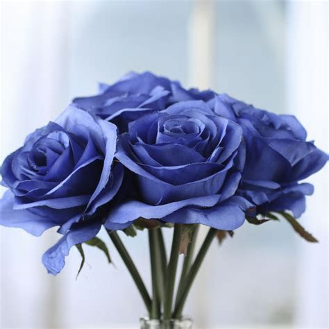 Royal Blue Artificial Open Rose Bouquet   Bushes and