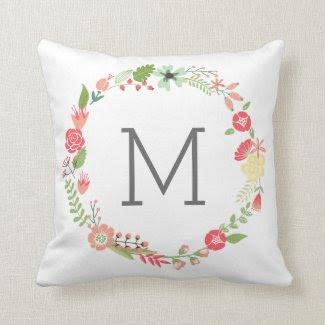 Posh Floral Monogram Throw Pillow