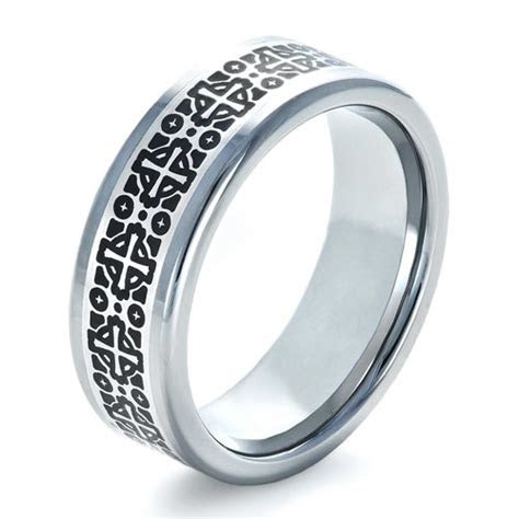 Men's Tungsten Ring with Pattern Finish #1353   Seattle