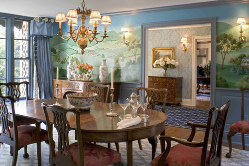 Formal Dining Room with Murals traditional dining room