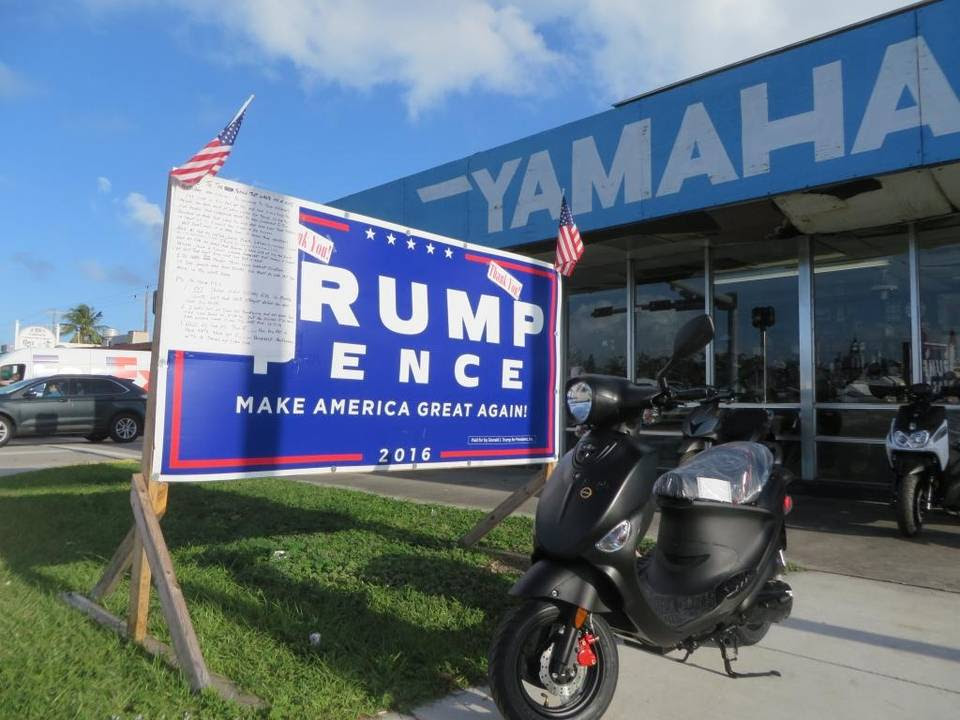 For a brief time this week, Alvin Crockett posted an angry handwritten letter to a political critic on the Trump campaign sign he put outside his scooter shop at 2222 N. Roosevelt Blvd.