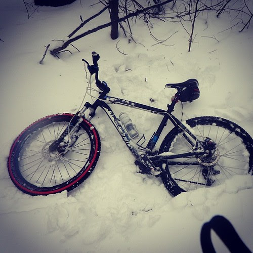 """Went bike riding in 10"""" of snow. Made a lot of snow angels. #mtb #winter #snow #snowmaggeddon2014 #snowdaynumber4"""