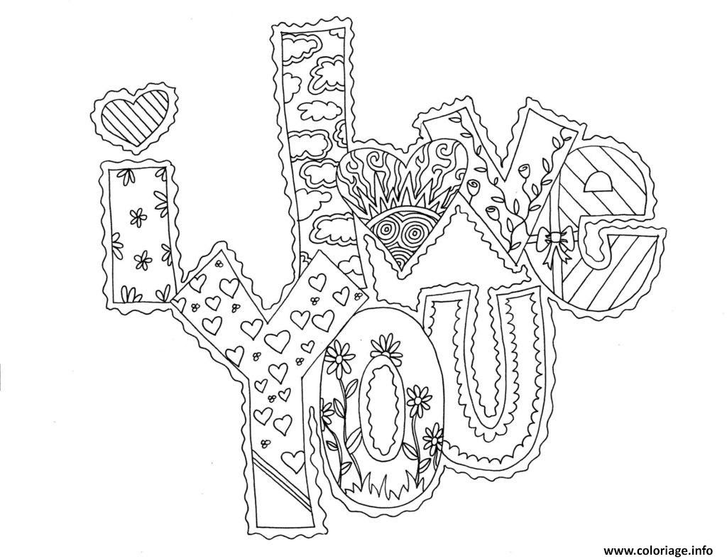Coloriage I Love You Adulte Amour Dessin   Imprimer