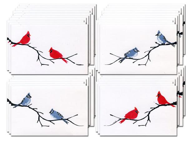 Cardinal Blue Jay Postcards Mixed Media Club