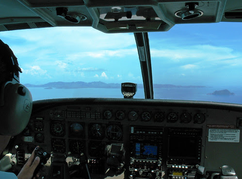 View from cockpit of seaplane near Phuket