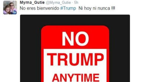 Twitter used Myrna_Gutie tweets: You're not welcome #Trump, not today, not ever