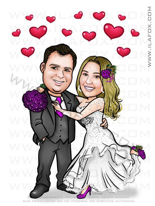 caricatura personalizada, caricatura noivos, caricatura noivinhos, by ila fox