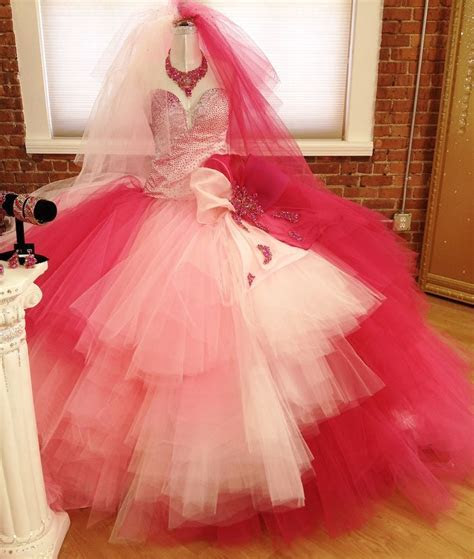 Pink ombré gypsy wedding dress by crystal couture designer