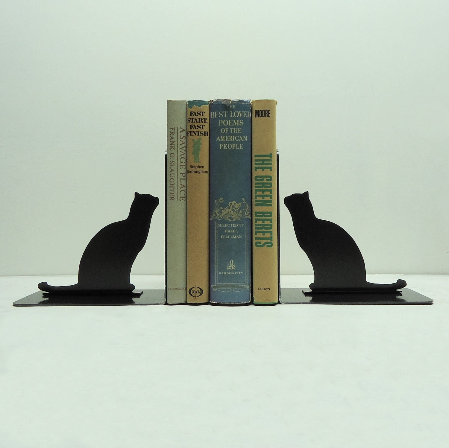 Cat Metal Art Bookends - Free USA Shipping - KnobCreekMetalArts