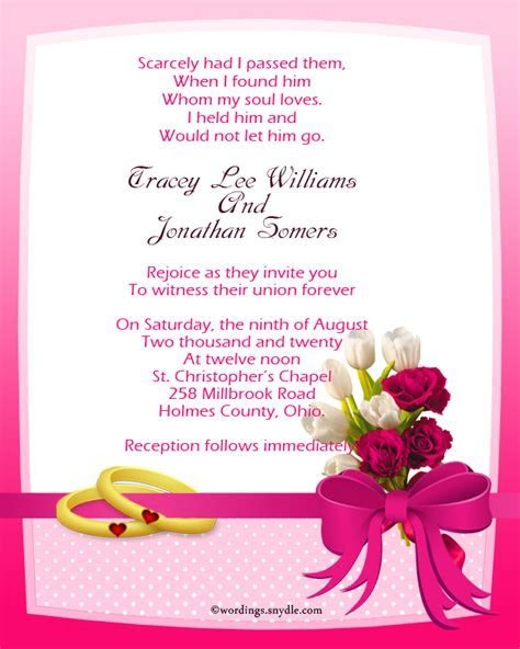 Christian Wedding Invitation Wording Samples   Wordings