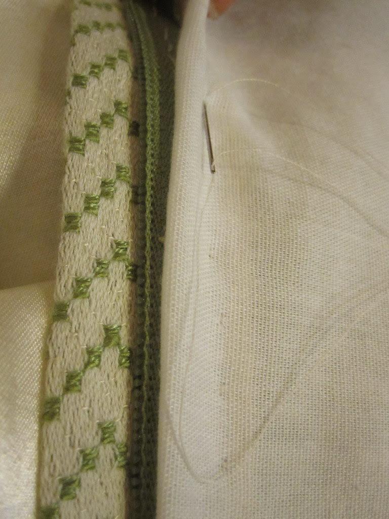 Hand Stitch Lining to Zip
