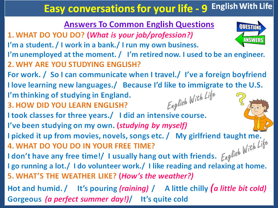 Answers To Common English Questions | Vocabulary Home