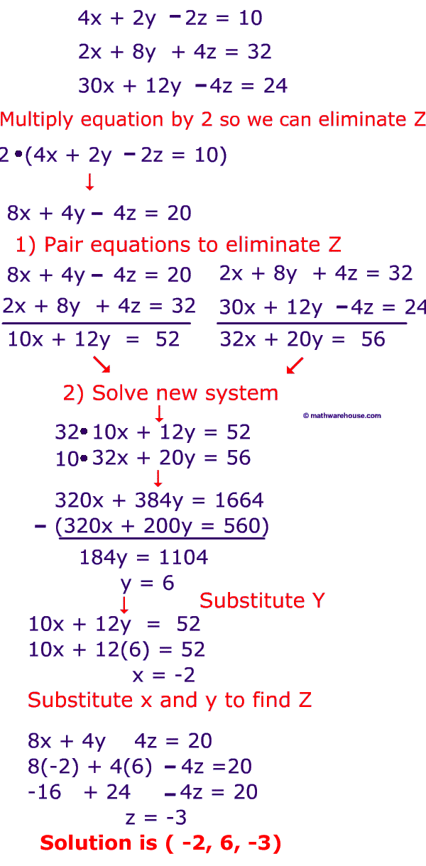 How to solve systems of 3 variable equations using elimination, step by step