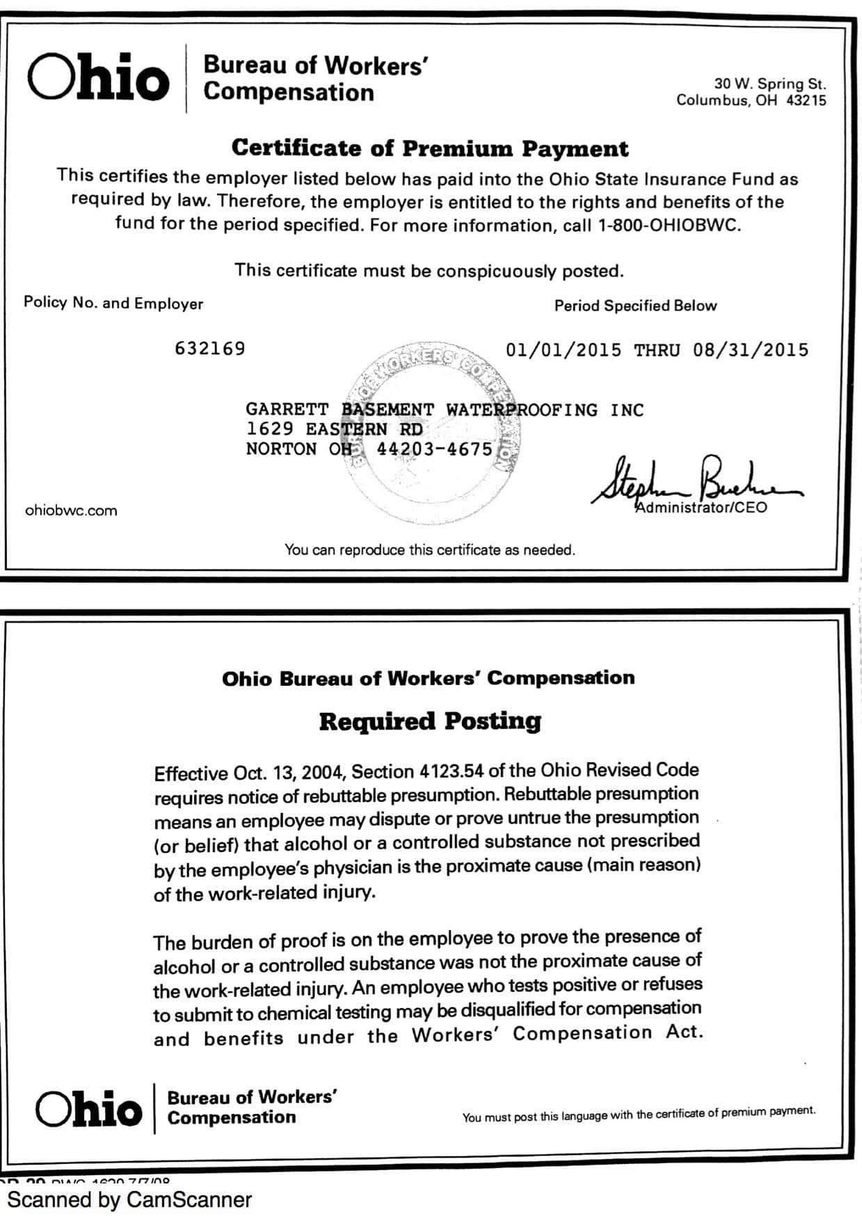Garrett Basement Waterproofing Credentials for Akron Ohio