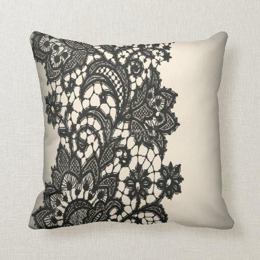 Vintage black Lace beige Paris Decor Pillow from Zazzle.