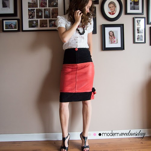 Recycled Leather Skirt Front
