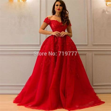 Red Puffy Prom Dress Formal Long Evening Gowns 2017 Custom