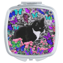 Freckles in Butterflies III, Tux Kitty Cat Compact Mirrors