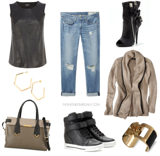 What to Wear to an NBA Game Leather and Chiffon Zip Detail Top Marc Jacobs Hail to the Queen Textured Leather Handbag Marc Jacobs High Top Sneakers Giuseppe Zanotti Double Buckle Biker Peep Toe Booties