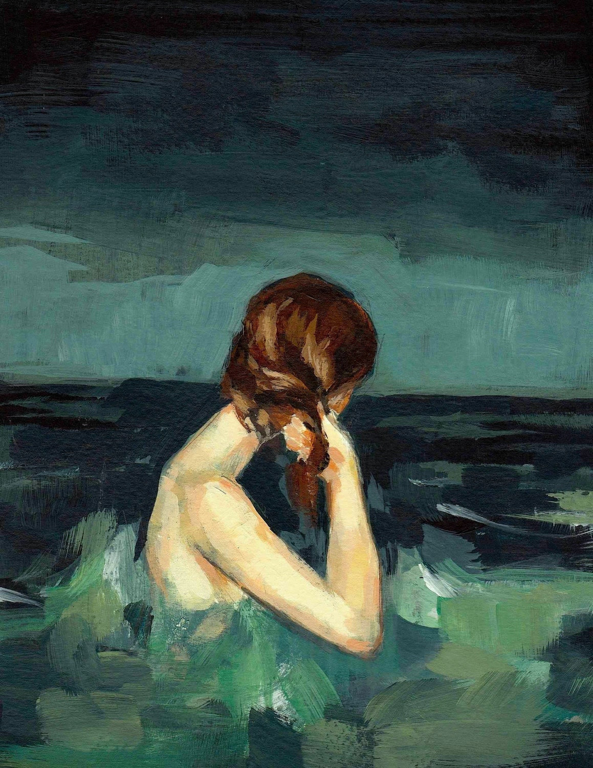Married to the Sea . giclee art print of woman in the ocean painting