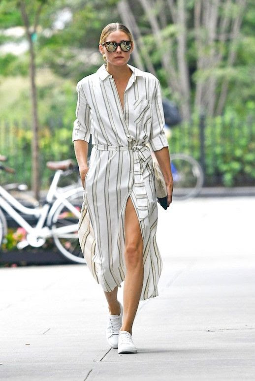Le Fashion Blog Olivia Palermo Striped Shirt Dress Sneakers Street Style Via Celeb Mafia jpg