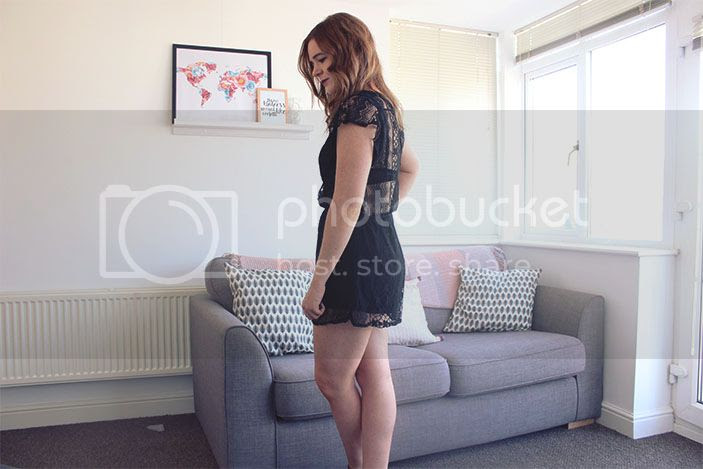 black playsuit lace back