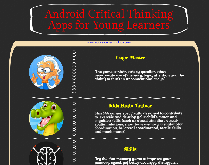 critical thinking games apps Sharpen your critical thinking skills with thinkfun's best fun online games like rush hour and our laser maze game.