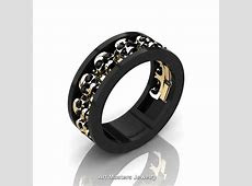 Mens Modern 14K Black and Yellow Gold Black Onyx Skull Channel Cluster Wedding Ring R913