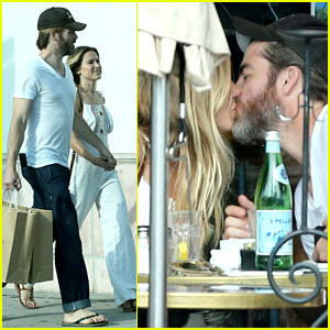 chris pine kisses mystery girlfriend during a romantic lunch