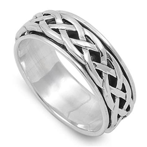 Spinner Men's Wedding Celtic Weave Ring New .925 Sterling