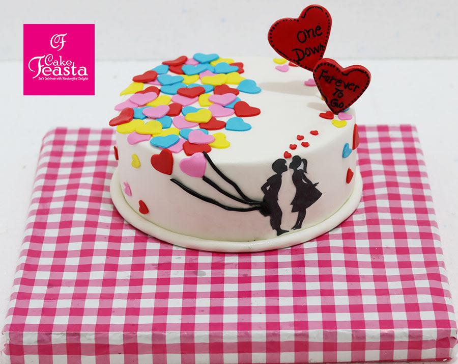 Multicolor Hearts Anniversary Cake Marriage Anniversary Cake