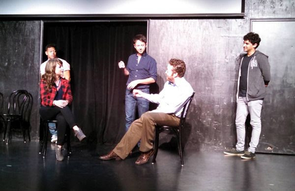 OTHER SPACE cast members Eugene Cordero, Milana Vayntrub, John Milhiser, Neil Casey and Karan Soni conduct a comedy skit at the UCB Theater in Hollywood...on May 16, 2015.