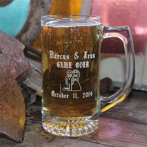 Personalized 13 oz Game Over Wedding Glass Beer Mug