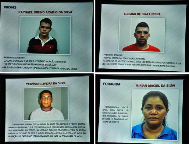 Trio condenado pela morte do escrivão e mulher que continua foragida (Foto: Divulgação/Polícia Civil do RN)