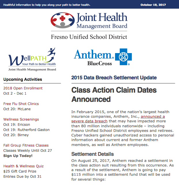 JHMB Email Newsletter: Anthem Class Action Suit Claim ...