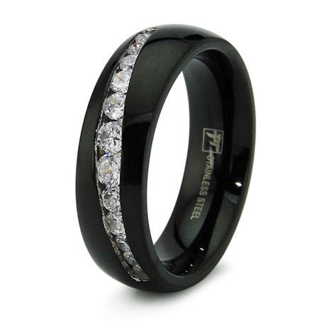 Stainless Steel Cubic Zirconia Channel Set Mens Black