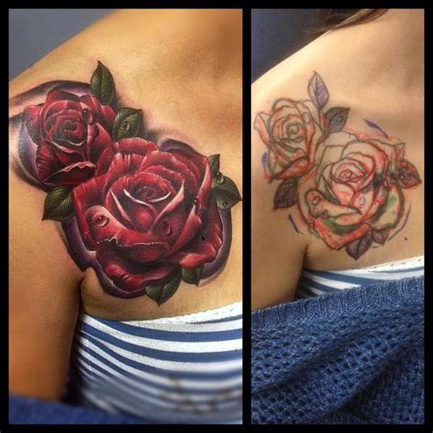 red roses cover flower tattoo